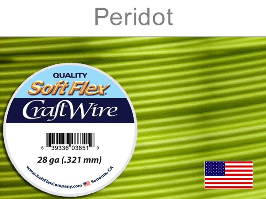 15 Yds 28 Ga Silver Plated Peridot Soft Flex Craft Wire (Closeout)