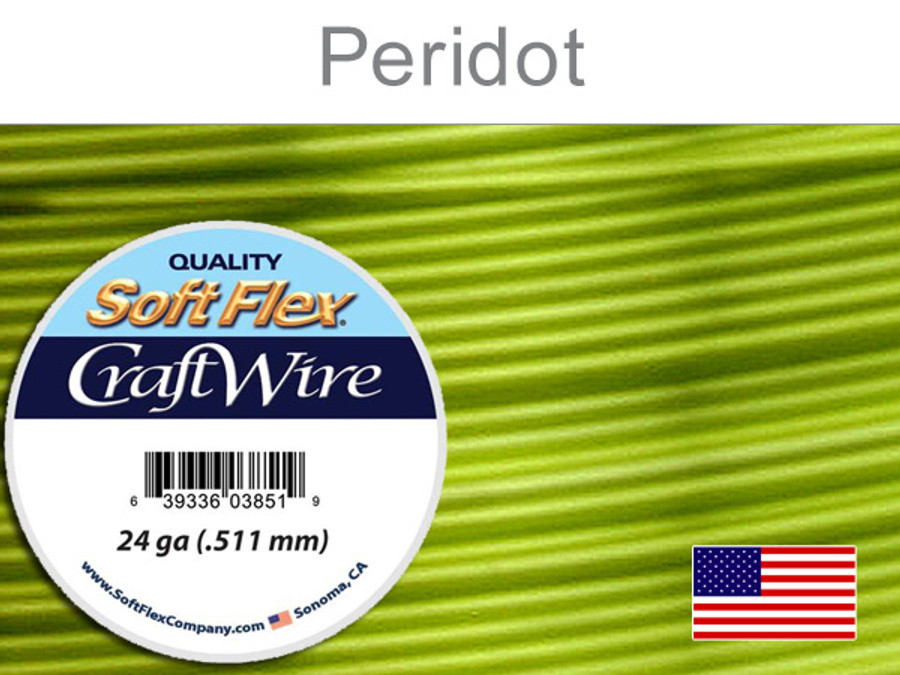 15 Yds 24 Ga Silver Plated Peridot Soft Flex Craft Wire (Closeout)