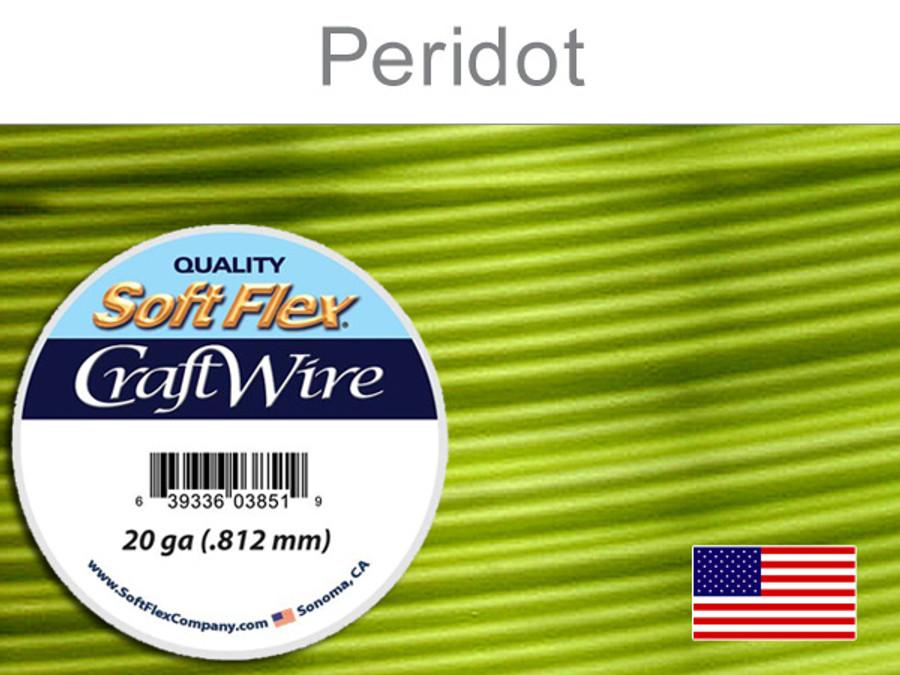 25 Ft 20 Ga Silver Plated Peridot Soft Flex Craft Wire (Closeout)