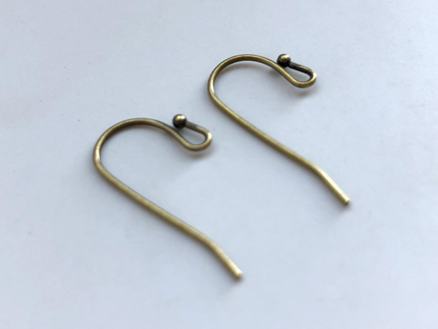 Antique Brass 22g Ear Wires With Ball - 20 Count