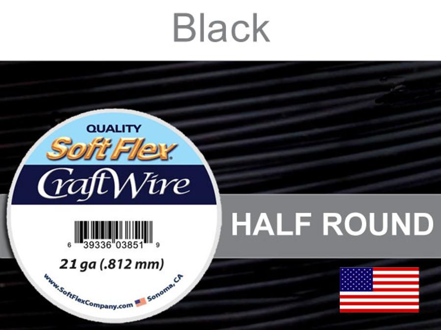 21 Ft 21 Ga Black Soft Flex Craft Wire Half Round (Closeout)