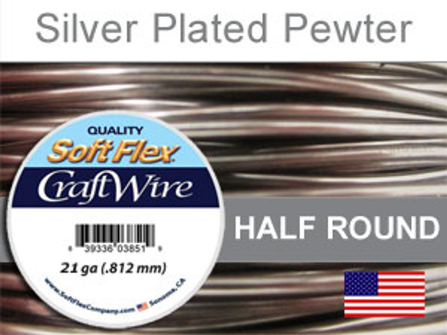 12 Ft 21 Ga Silver Plated Pewter Soft Flex Craft Wire Half Round (Closeout)