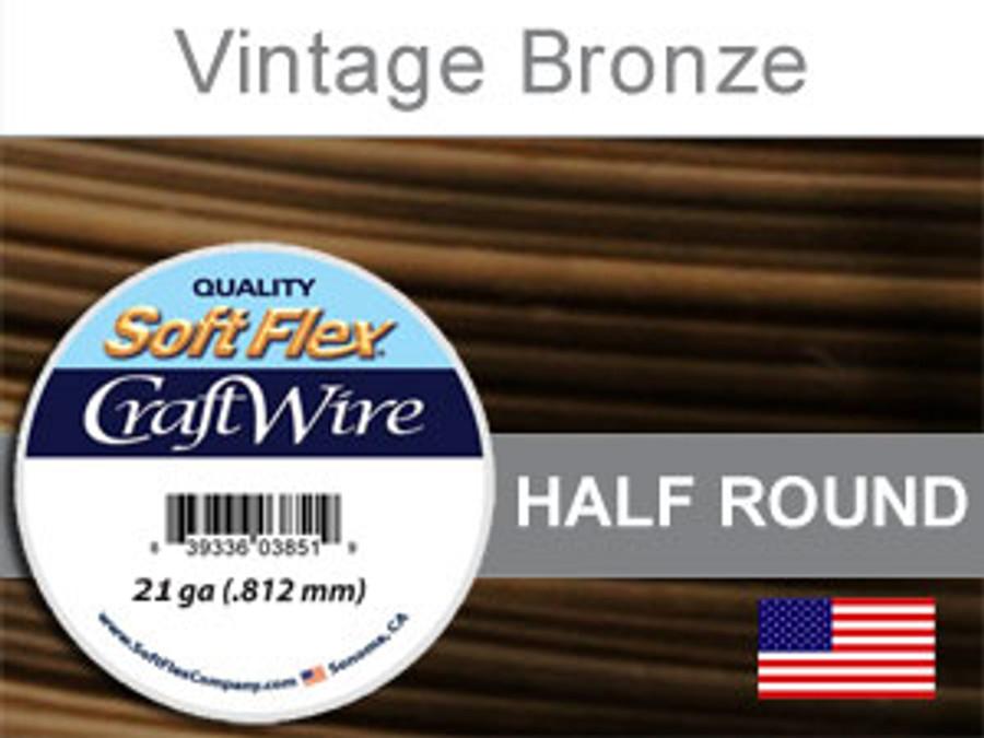 21 Ft 21 Ga Vintage Bronze Soft Flex Craft Wire Half Round (Closeout)