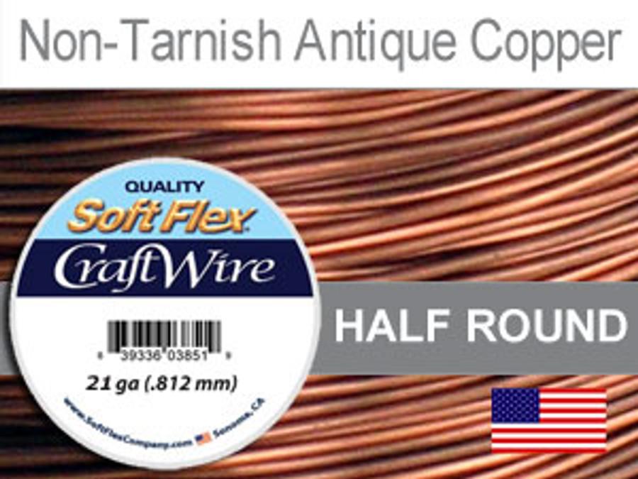21 Ft 21 Ga Non Tarnish Antique Copper Soft Flex Craft Wire Half Round (Closeout)