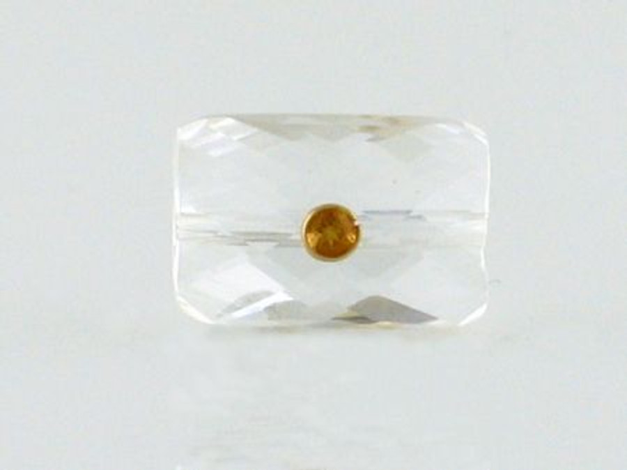 Quartz Crystal With Citrine And 18kt Gold Setting (Closeout)