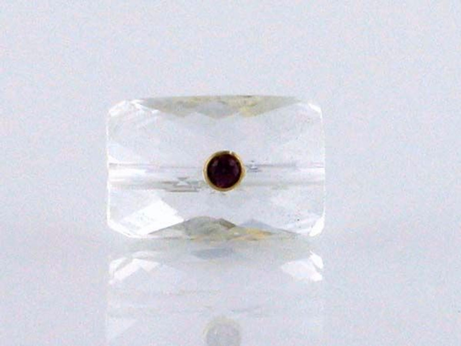 Quartz Crystal With Garnet And 18kt Gold Setting (Closeout)