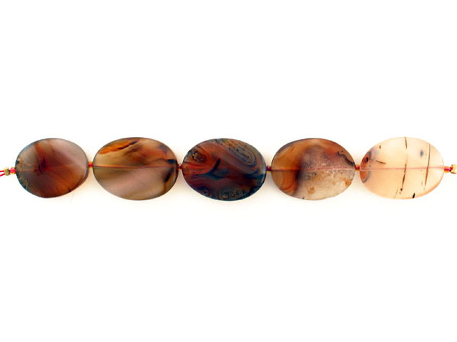 5 Count 25x19mm Moss Agate Smooth Twisted Ovals (Sale)