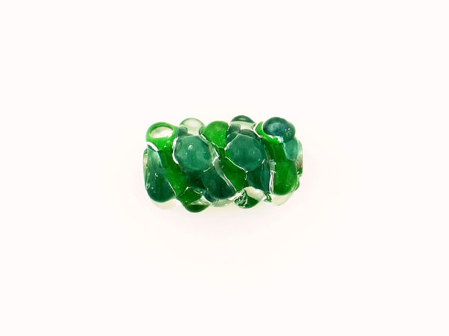 1 Count Apx 25x15mm Spring Green And Blue Green Spiral Glass Bump Bead (Closeout)