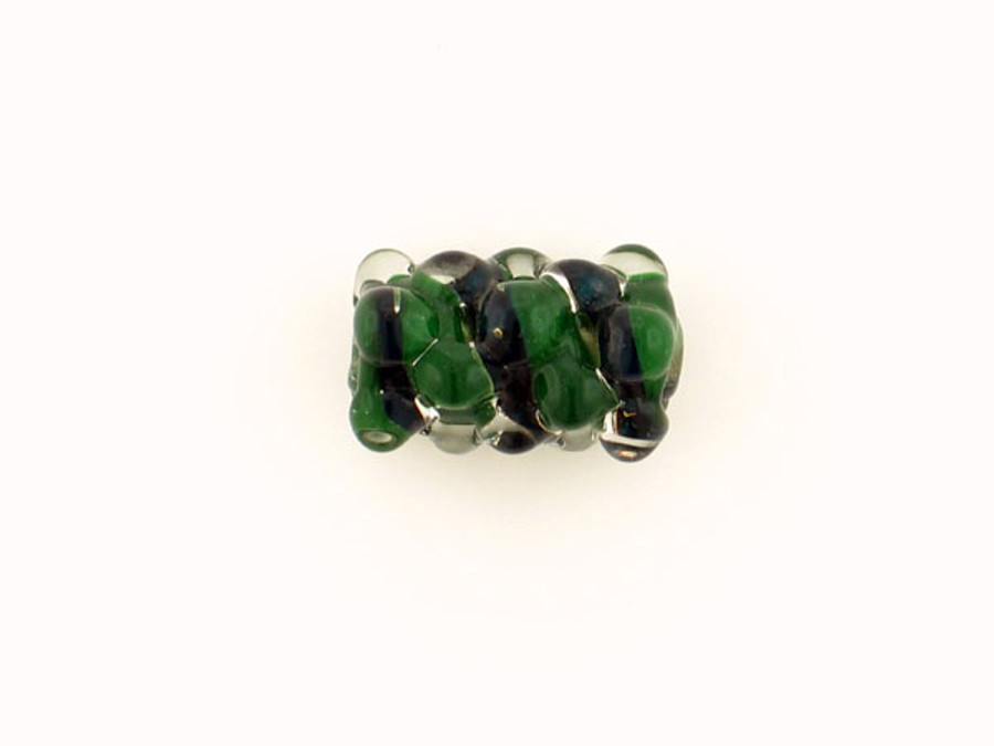 1 Count Apx 20x15mm Dark Green And Black Spiral Glass Bump Bead (Closeout)