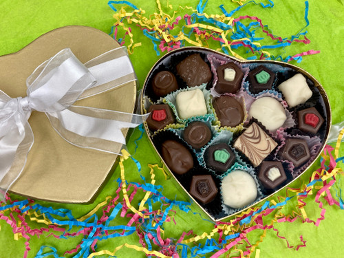 Small heart box of assorted confections