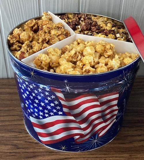2 gallon Gourmet Nutty Popcorn Tin, Caramel Nut, Vanilla Cashew, & Rocky Road
