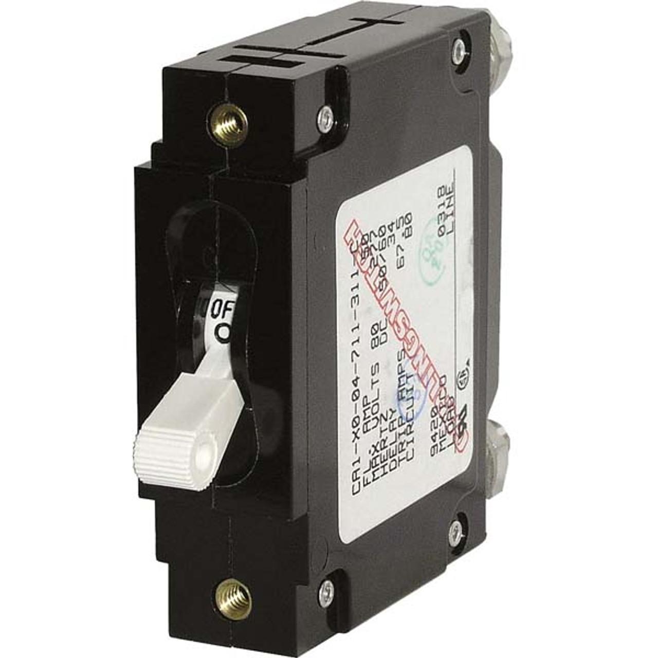 Single Pole 25 Amp Blue Sea C-Series White Toggle Circuit Breaker