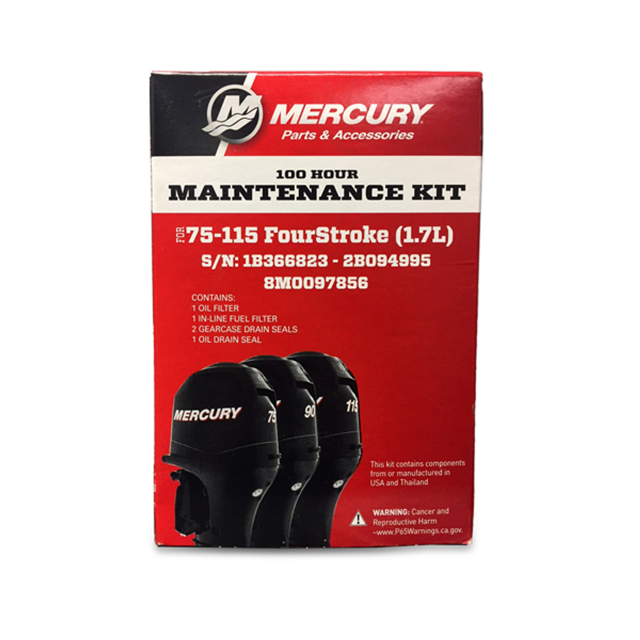 Mercury Marine 100-Hour Maintenance Service Kit - 75-115 HP FourStroke  (1 7L)