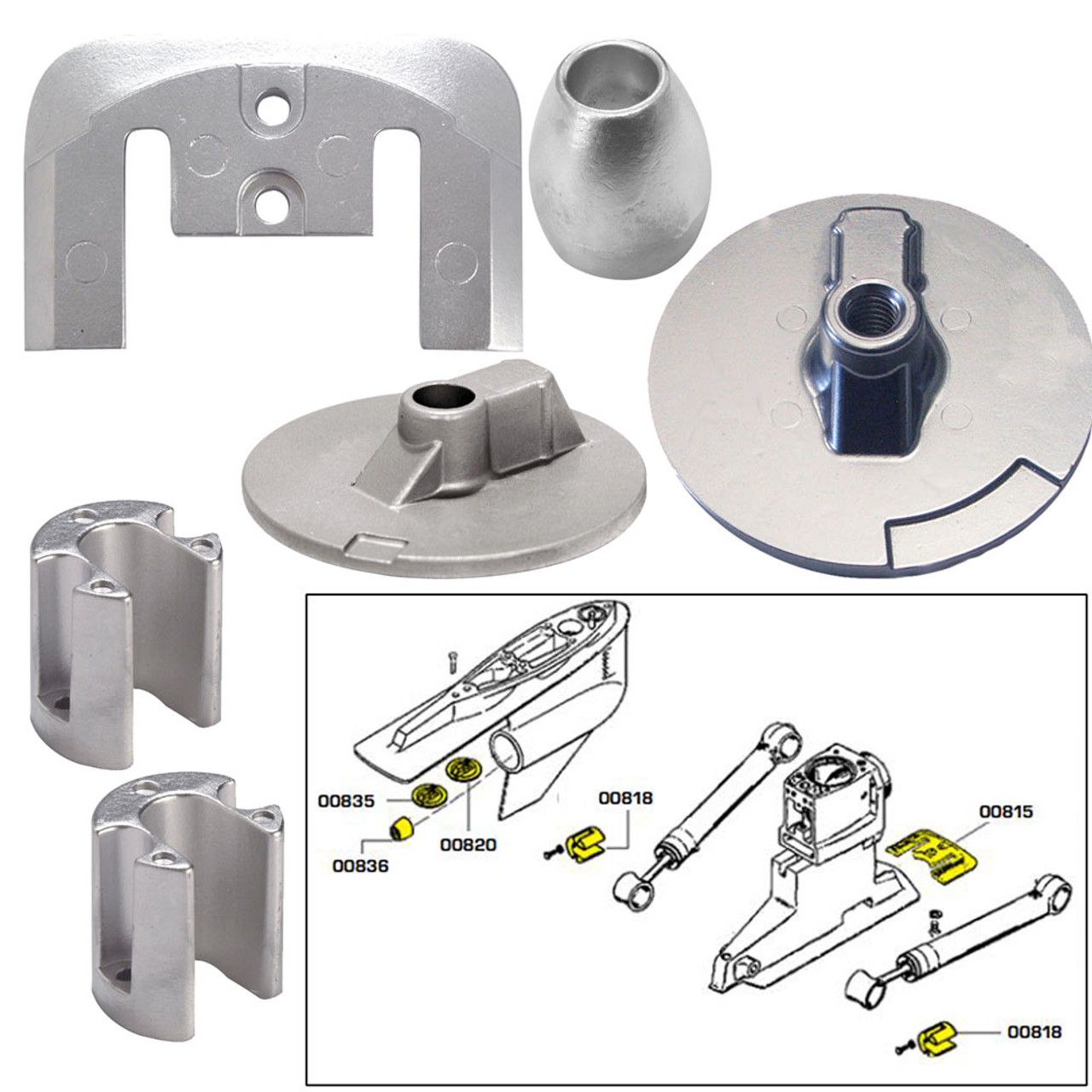 Tecnoseal Anode Kit Avec Matériel-mercury verado 6-Aluminium