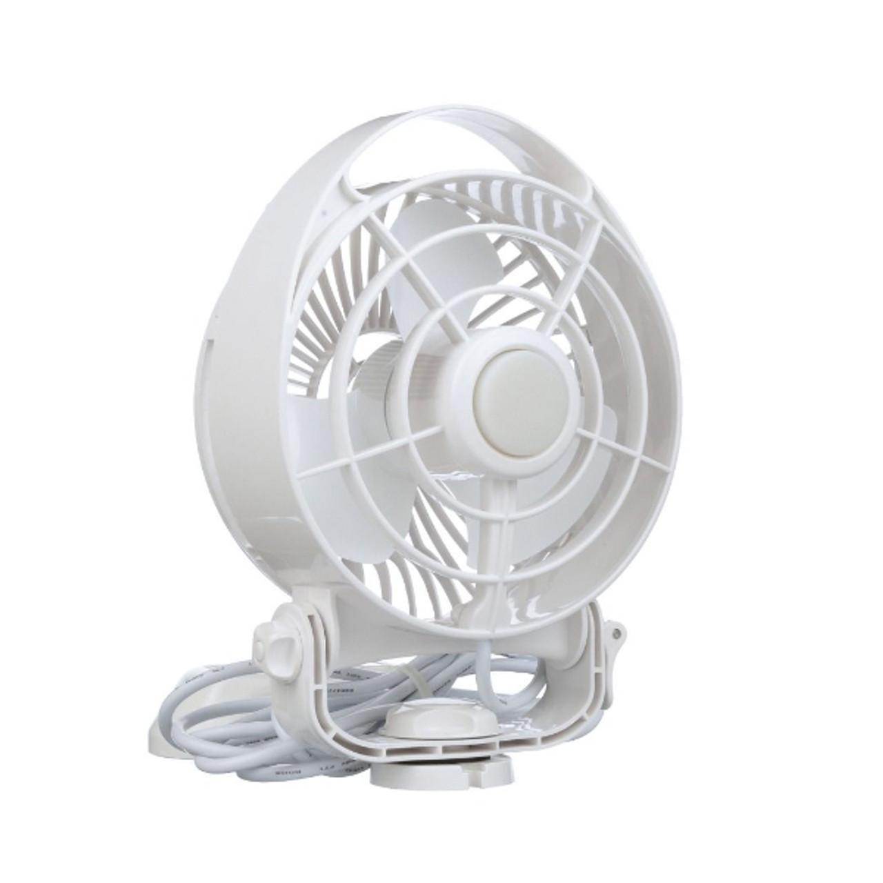 "Caframo Maestro 12V 3-Speed 6/"" Marine Fan w//LED Light Black"