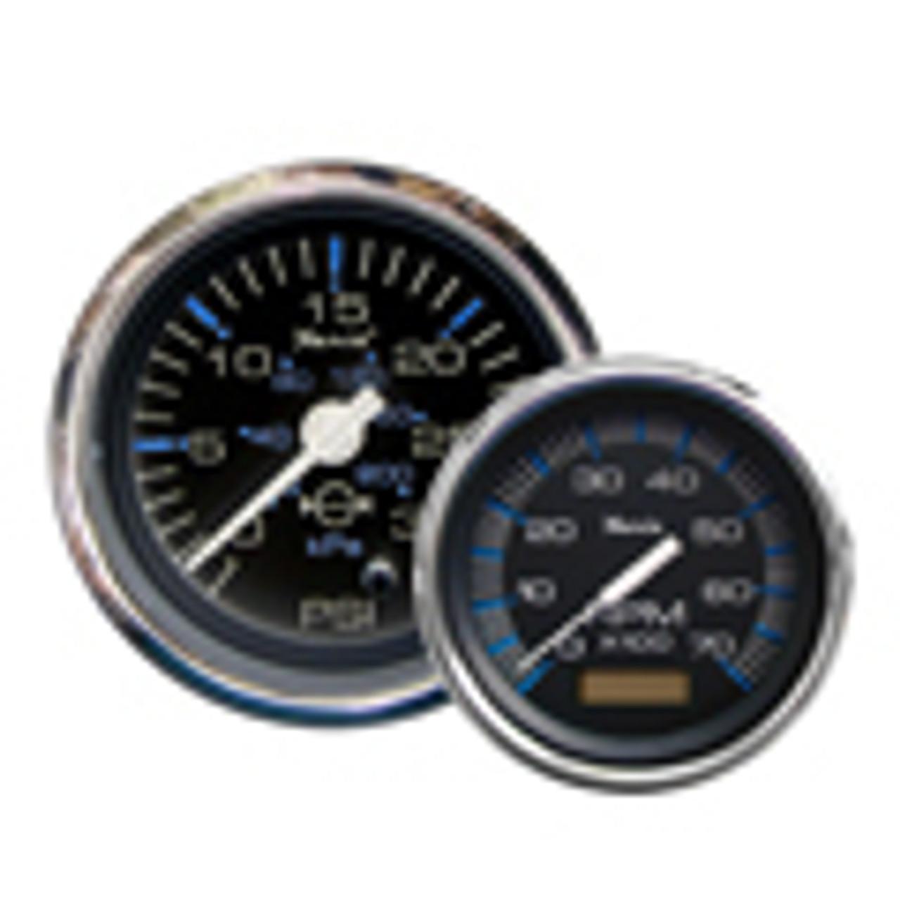 "Faria 4/"" Tige Logo Blue Face 4-in-1 Fuel Volt Temp Oil Pressure Boat Gauge"