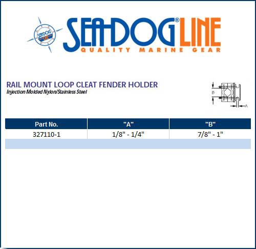 Sea Dog Rail Mount Loop Cleat Boat Fender Holder