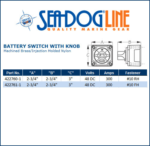 Sea Dog 422760-1 Battery Switch W// Knob 4 Position