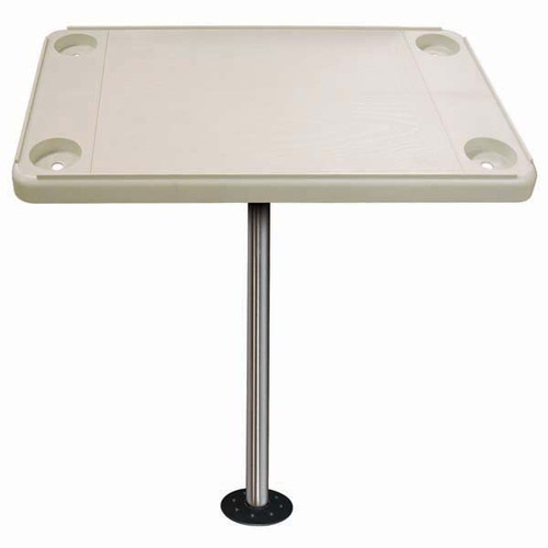 """BOAT CARAVAN WHITE 30/"""" X 18/"""" OVAL TABLE WITH ADJUSTABLE HEIGHT PEDESTAL /& BASE"""