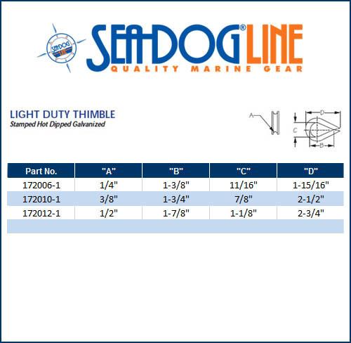 "Hot Dipped Galvanized Steel Light Duty Thimble 5//16/"" Marine Boat Sea-Dog Line"