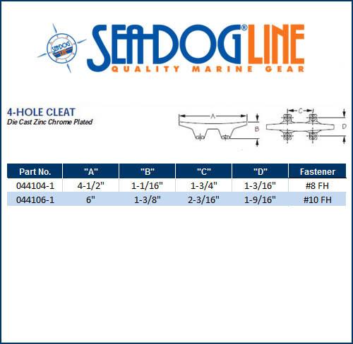 Sea Dog 044104-1 Four-Hole Cleat 4-1//2 4-1//2 Sea-Dog
