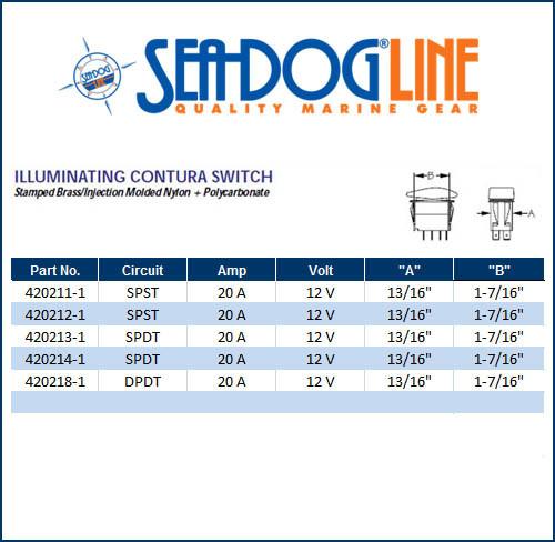 sea dog marine illuminating contura switch � size chart