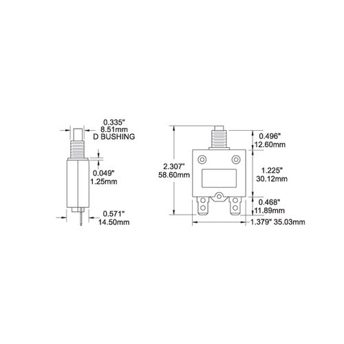 blue sea reset-only push button circuit breaker dimensions