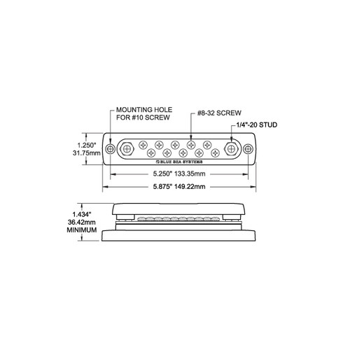 """New Busbar 150 Amp Common Bus blue Sea Systems 2300 10 with cover Gang Stud 1//4/"""""""