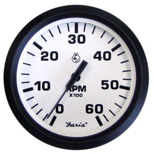 6,000 RPM Gas Inboard /& Inboard//Outboard Faria 4 Euro White Series Tachometer