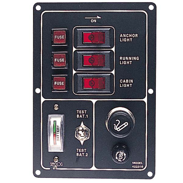 Battery Test Switch Panel with Gauge and Lighter