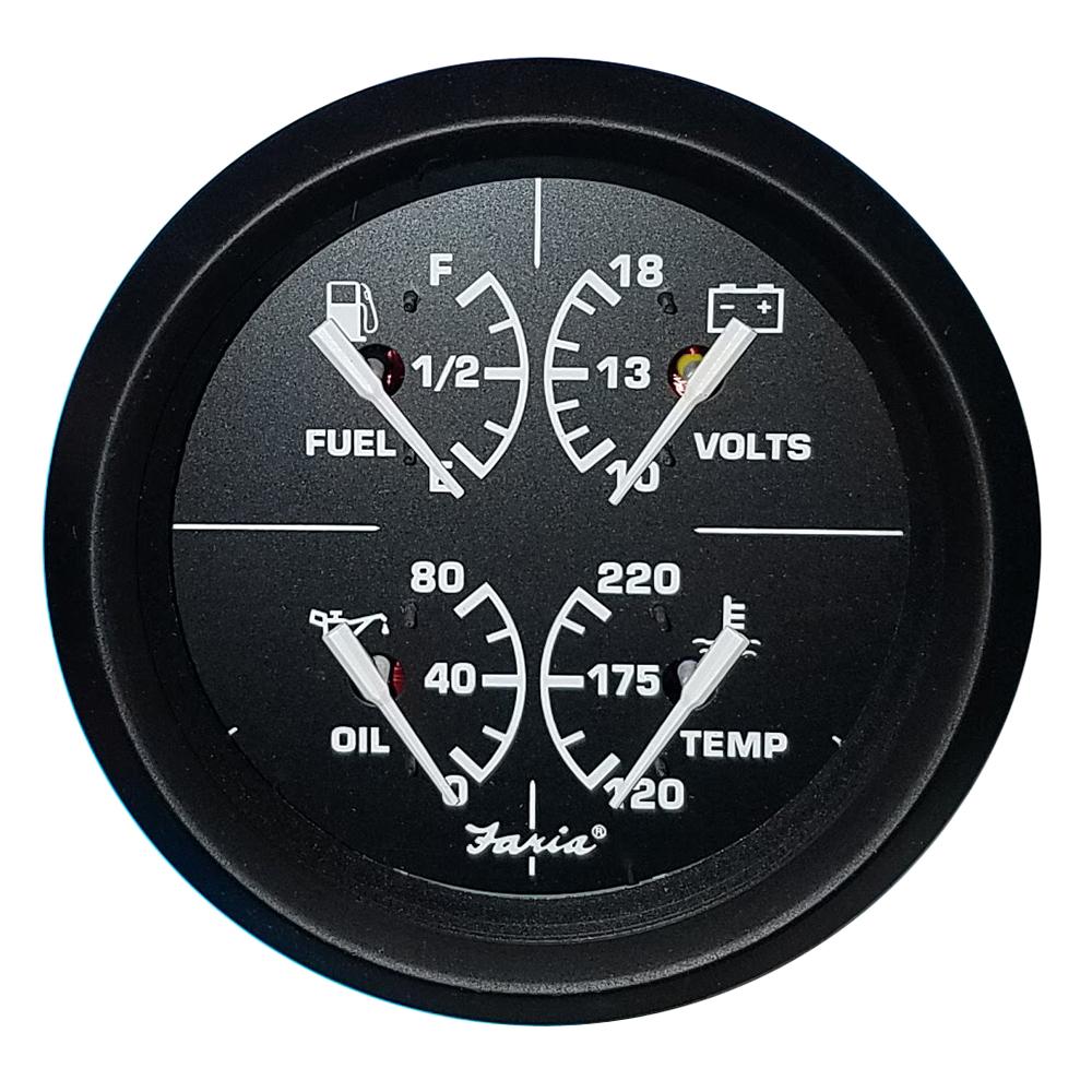 """Faria Beede Instruments 13004 2/"""" Water Temperature Gauge 100 250F Coral Black"""