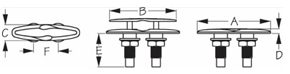 Sea Dog Pull-Up Cleat Dimensions