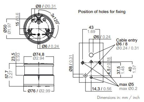 Aqua Signal 34000-7 Dimensions