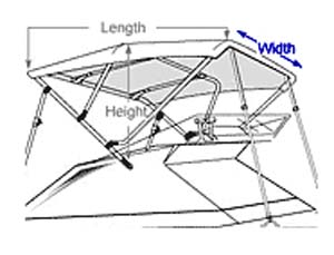 Boat with indication of how to measure boat width