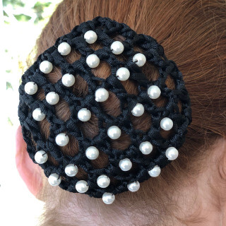 Hair net with black pearls