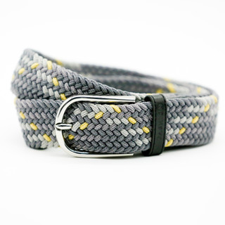 Grey and Yellow Stretch Belt - THICK