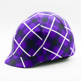 Lycra Helmet Cover - Purple with Silver