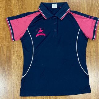 Navy with Pink Sleeve polo with Metallic Pink Logos