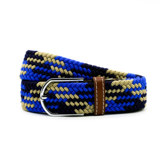 Royal blue, Tan and Navy Pattern Belt - THICK