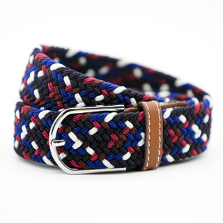 Maroon, Navy, Black and White Pattern Belt - THICK