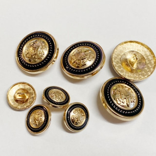 Gold With Black Metal Buttons with Shields