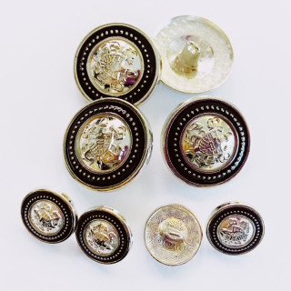 Silver With Black Metal Buttons with Shields