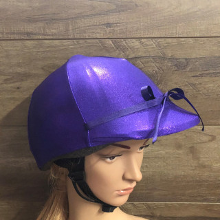 Purple Lycra Horse Riding  Helmet Cover  Any colour ribbon bow can be added just ask