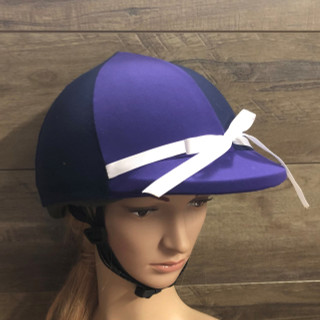 Purple Navy Lycra Horse Riding  Helmet Cover with white Bow
