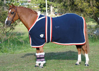 Kersey Wool Horse Rug Navy & Red/White trim with Surcingle