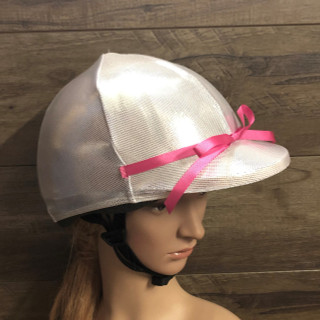 Silver lycra horse riding helmet cover  Any colour bow can also be added