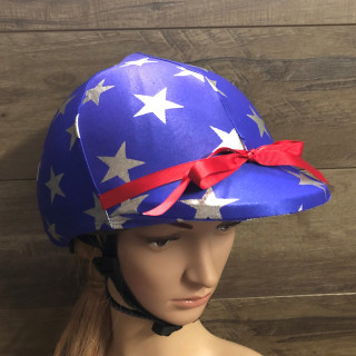 Blue with Silver Stars  Lycra Helmet Cover will fit most riding helmets   Ribbon Trims can be added in any colour also by request