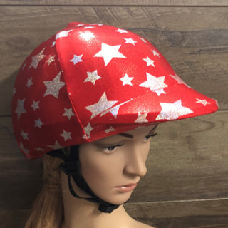 Red with Silver Stars  Lycra Helmet Cover will fit most riding helmets  Ribbon Bow can be added in any colour just ask