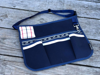 Navy with Navy and White Trims Canvas Plaiting apron