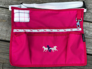 Hot Pink Apron with Silver horses trims